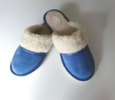 Womens/Ladies Slippers Wool and Leather Suede Sheepskin Blue Shoes Size UK 4-8