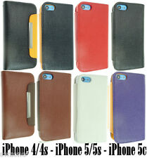 FOR APPLE IPHONE 4 4S 5 5S 5C LEATHER CASE POUCH COVER FLIP WALLET BACK SKIN NEW
