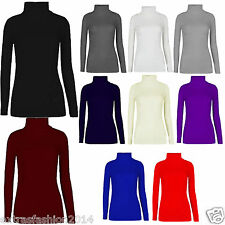 New Ladies Womens  Plain Long Sleeve Polo Roll Neck Stretch Top jumper Plus Size
