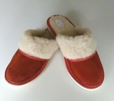 Ladies/Womens Slippers Suede Leather And Wool Sheepskin Red Size UK 4-8