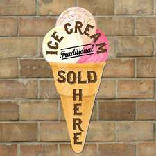 Ice Cream Cone shaped sign, Ice Cream Sold Here, Vintage Style Advertising Sign