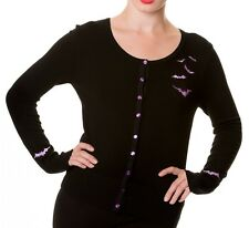 Banned Gothic BATS Cardigan Long Sleeve Top Halloween Vampire 10 12 14 Black Pur