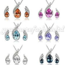 FABULOUS WEDDING CRYSTAL WATER DROP LEAVES EARRINGS NECKLACE JEWELRY SET (Q05)