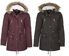 NEW WOMENS QUILTED PARKA JACKET LADIES HOODED WINTER FISHTAIL COAT SIZE 8-16