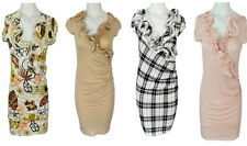 Womens V Neck Frill New Style Bodycon Pencil Wiggle Dress Printed UK Size 8-14