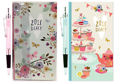 2018 Slim Long Size Diary Pen Week To View Designs Case Hardback Butterfly/Cake