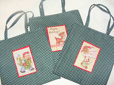 Handmade Retro Patch Green Christmas Fabric Mini Tote / Gift Bags