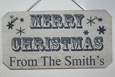 Personalised Merry Christmas Rustic Wooden Sign