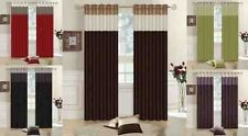 Luxury Faux Silk 3 Tone Fully Lined Eyelet Top Pair of Curtains With Tie-backs