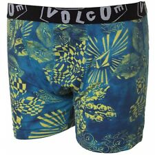 Volcom Youth Kids Oldschool Knit Boxer Shorts in Yellow/Blue - Boys Underwear