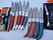 "Assorted_9"",8"",8.75"", 7.75"" ,7.5"" Damascus Steel Hunting Knives + Pocket knife"