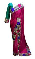 Women's Saree embroidered with contrast thread zari stones & silk Blouse UK 7006