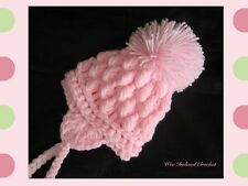 Baby Girls Baby Pink Crocheted Pom Pom Hat sizes from Newborn - 12-24 months