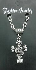"""20"""" or 24"""" Inch Snake on Cross Pendant Charm & Necklace Goth Emo Biker Asp Gift"""
