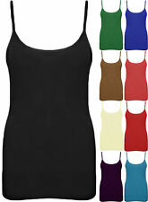 New Womens Vest Ladies Sleeveless Strappy Tank Top Plain Cami Stretch Mini shirt