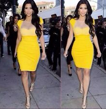 WOMENS LADIES CELEB KIM KARDASHIAN INSPIRED PADDED MESH INSERT TOP BODYCON DRESS