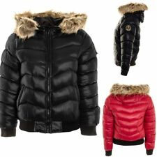 WOMENS LADIES QUILTED BADGE PUFFER FUR HOODED BOMBER JACKET PADDED WINTER COAT