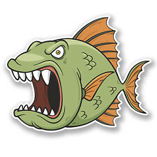 2 x Angry Fish Vinyl Sticker Decal iPad Laptop Car Bike Helmet Fishing Fun #4743