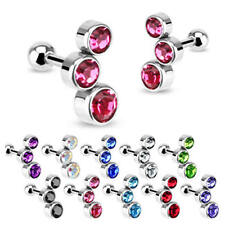 PAIR of Triple Bubble Gem Curved Cartilage Upper Ear Stud Earring Helix Bars