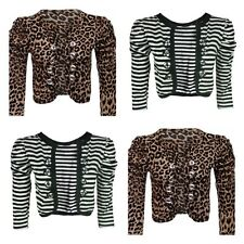 WOMENS LADIES MILITARY BUTTON RUCHED ANIMAL STRIPE PRINT BOLERO SHRUG CARDIGAN