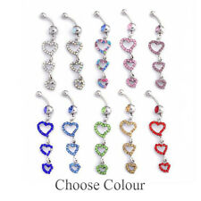 Belly Dangle Heart  Crystal Navel Button Bar Piercing 14G 1.6mm 8mm 5mm Gem Ball