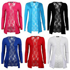 NEW WOMENS LADIES LACE BACK DROP POCKET LONG SLEEVE OPEN FRONT CARDIGAN TOP 8-14