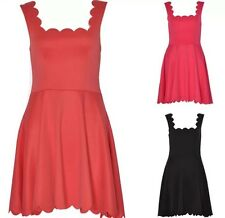 NEW WOMENS LADIES SCALLOPED EDGE SLEEVELESS SKATER FLARED SEXY PARTY DRESS 8-14