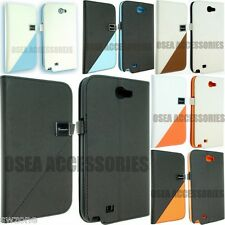 SAMSUNG GALAXY NOTE 2 II N7100 LEATHER CASE COVER POUCH FLIP + SCREEN PROTECTOR