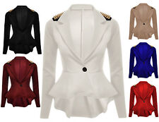 Womens Ladies Spike/Stud Long Sleeves Front Button Panel Slim Fit Blazer Jacket