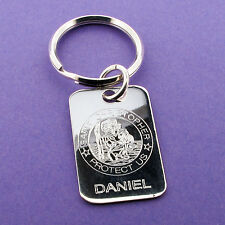 Solid 925 Sterling Silver St Christopher Keyring With Engraving Options