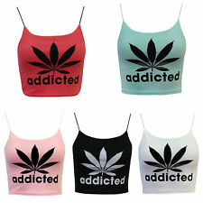 NEW WOMENS CASUAL ADDICTED PRINT CAMI CORD STRAP GIRLS SEXY VEST LADIES CROP TOP