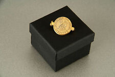 24ct Gold Plated Lucky Sixpence Brooch 1921 - 1946 in gift box