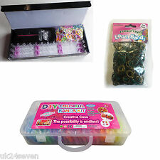 2200 RAINBOW COLORS LOOPS, GLOW IN DARK RUBBER LOOPS, 600PC LOOM BAND SET