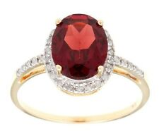 10k Yellow Gold 3ct Oval Garnet and Pave Diamond Halo Ring