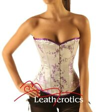 Steel boned Lilac purple cherry blossom Silk corset basque bustier cincher top