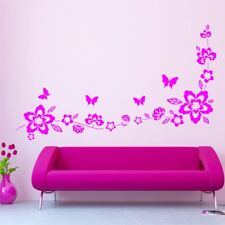 BUTTERFLIES AND FLOWERS wall stickers kids bedroom nursery decals