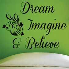 DREAM IMAGINE BELIEVE wall sticker quote graphic bedroom wall decals