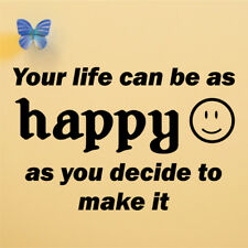 HAPPY AS YOU MAKE IT wall quote sticker bedroom living room wall decal