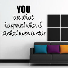 WISHED UPON A STAR wall quote stickers bedroom removable wall decals