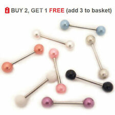 Pearl Tongue Bar Piercing Straight Barbell 14G Surgical Steel All Colours & Size