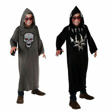 Halloween Child Grey or Black Hooded Robe with Skull or Devil Print Costume