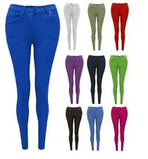 Womens Jeggings  Ladies Fit Skinny Coloured Stretchy Trousers Jeans Size 8 to 26