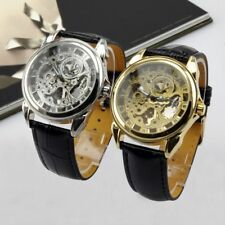 Mens Leather Automatic Mechanical Self-Winding Transparent Skeleton Watch Luxury