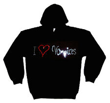 I LOVE VAMPIRES gothique STRASS PULL CAPUCHE (toutes les tailles)