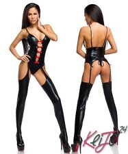 Sexy Wetlook Jumpsuit Cutouts Suspenders Grinding Patent Leather Black Catsuit