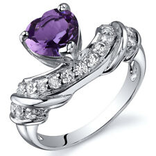 Heart Shape 1.00 cts Amethyst CZ Ring Sterling Silver Sizes 5 to 9