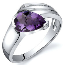 Contemporary Pear Shape 1.00 cts Amethyst Ring Sterling Silver Sizes 5 to 9