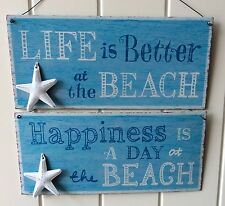 BEACH WALL PLAQUE SIGN BLUE METAL WHITE STARFISH LIFE IS BETTER AT THE BEACH