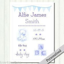 Baby Boy Personalised Nursery Gift. Printed Keepsake Christening / Birth Newborn