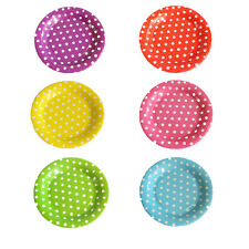 10 Pcs Disposable Colored Polka Dots Round Paper Plate Dishes Food Trays 7'' 9''